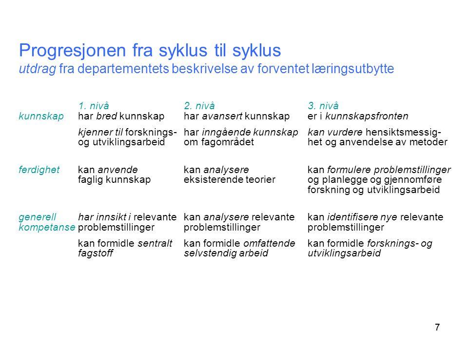 77 Progresjonen fra syklus til syklus utdrag fra departementets beskrivelse av forventet læringsutbytte 1.