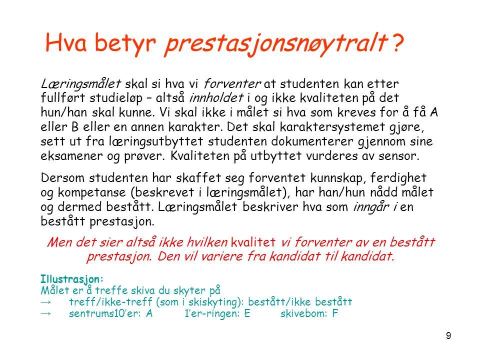 10 Eksempel 1, prestasjonsnøytralt mål Studenten skal etter fullført studieprogram kunne gjøre seg forstått skriftlig og muntlig på engelsk i engelsktalende land.