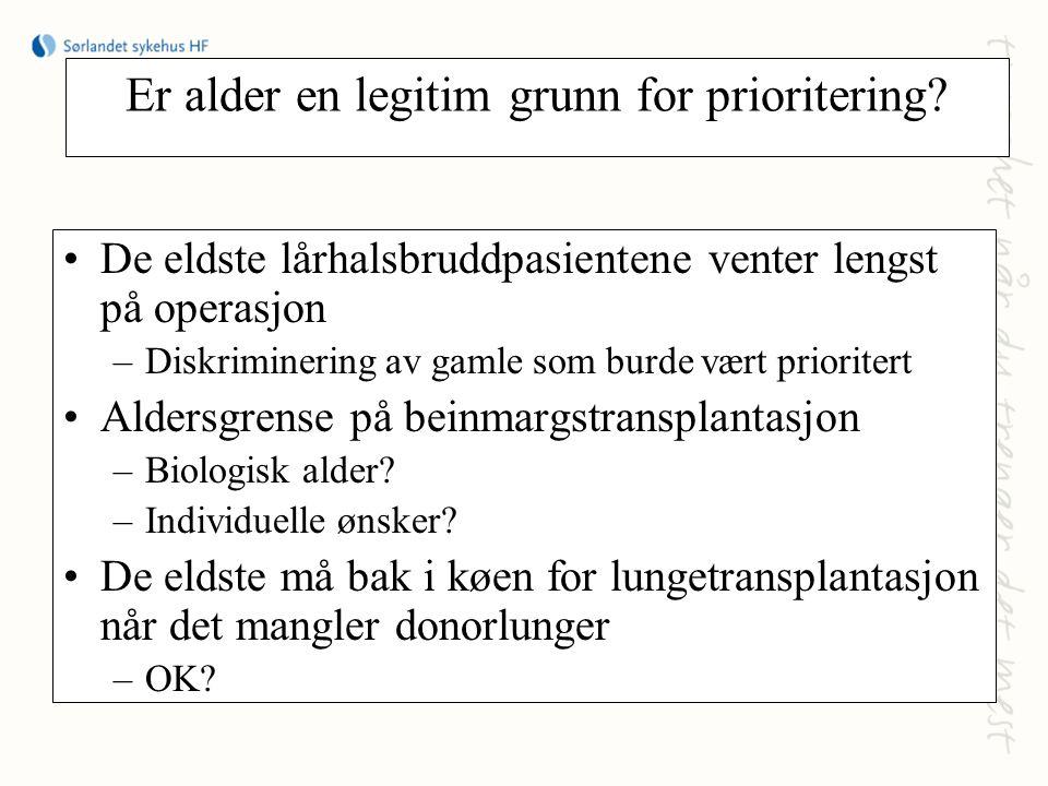 Er alder en legitim grunn for prioritering? De eldste lårhalsbruddpasientene venter lengst på operasjon –Diskriminering av gamle som burde vært priori