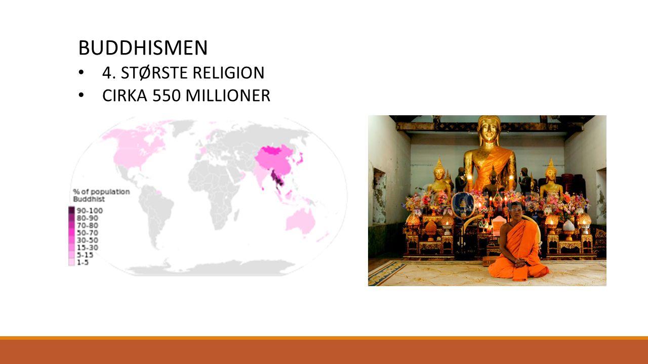 BUDDHISMEN 4. STØRSTE RELIGION CIRKA 550 MILLIONER
