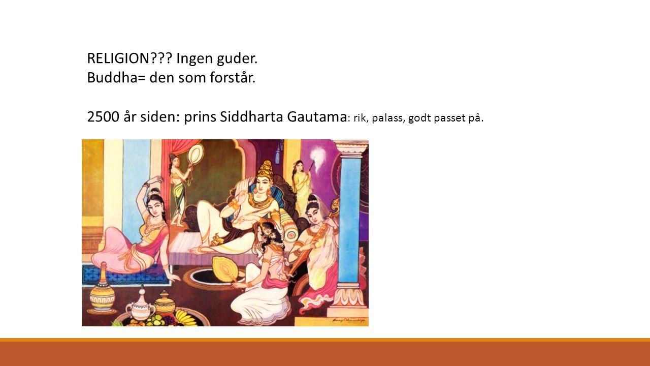 RELIGION??? Ingen guder. Buddha= den som forstår. 2500 år siden: prins Siddharta Gautama : rik, palass, godt passet på.
