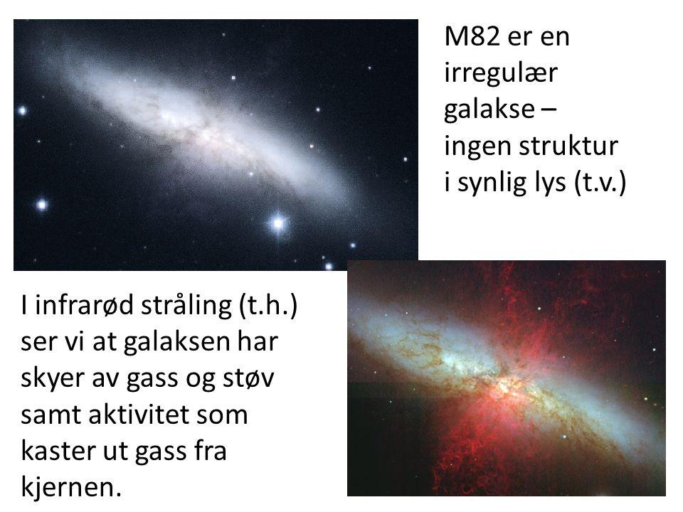 12 M82 er en irregulær galakse – ingen struktur i synlig lys (t.v.) I infrarød stråling (t.h.) ser vi at galaksen har skyer av gass og støv samt aktivitet som kaster ut gass fra kjernen.