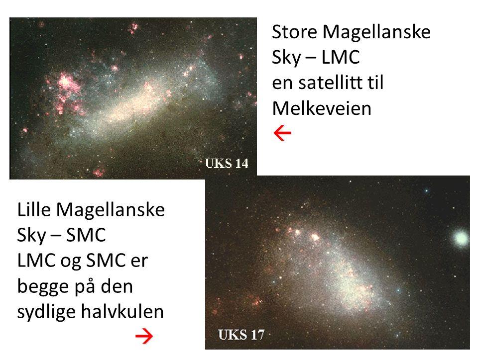 13 Store Magellanske Sky – LMC en satellitt til Melkeveien Lille Magellanske Sky – SMC LMC og SMC er begge på den sydlige halvkulen 