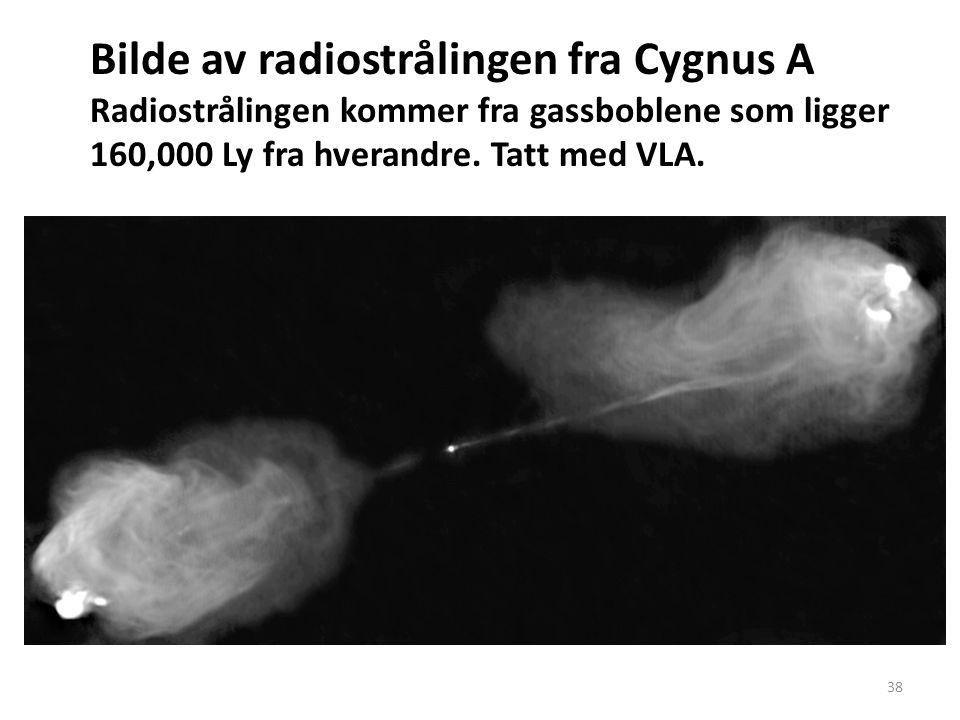 38 Bilde av radiostrålingen fra Cygnus A Radiostrålingen kommer fra gassboblene som ligger 160,000 Ly fra hverandre.