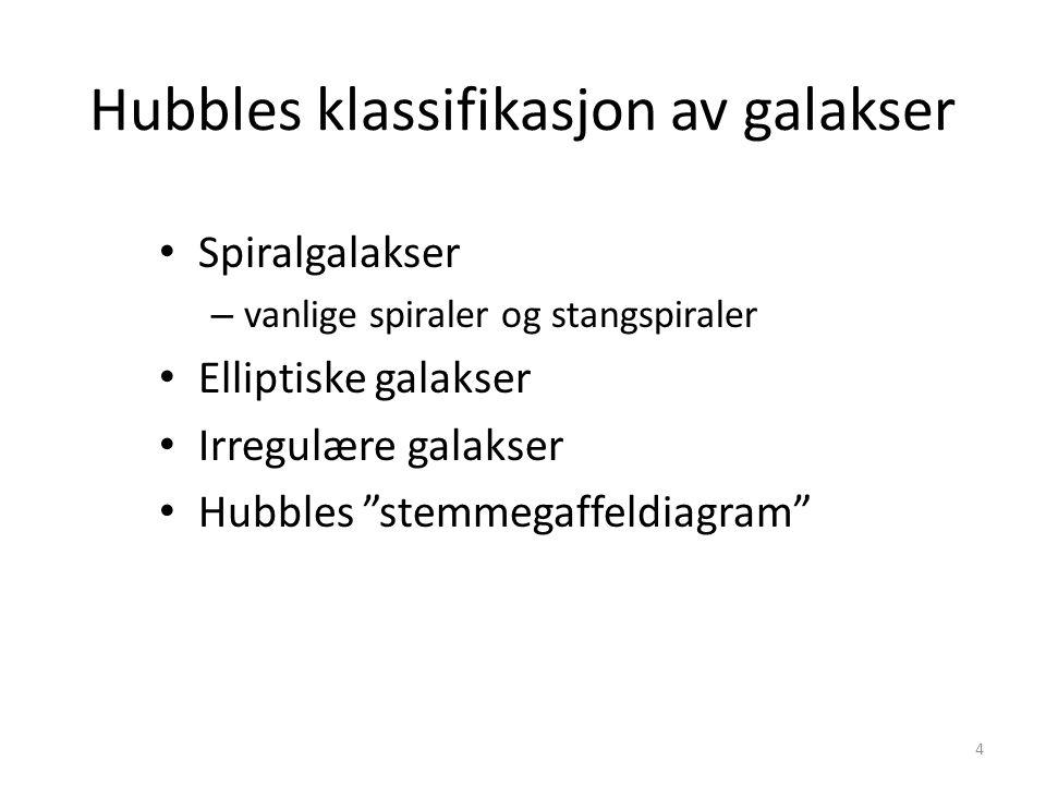 4 Hubbles klassifikasjon av galakser Spiralgalakser – vanlige spiraler og stangspiraler Elliptiske galakser Irregulære galakser Hubbles stemmegaffeldiagram
