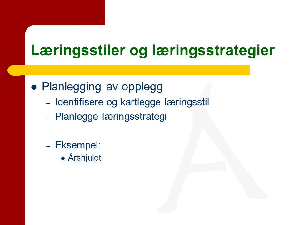Planlegging av opplegg – Identifisere og kartlegge læringsstil – Planlegge læringsstrategi – Eksempel: Årshjulet