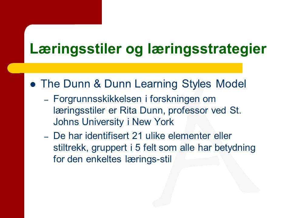 Læringsstiler og læringsstrategier The Dunn & Dunn Learning Styles Model – Forgrunnsskikkelsen i forskningen om læringsstiler er Rita Dunn, professor ved St.