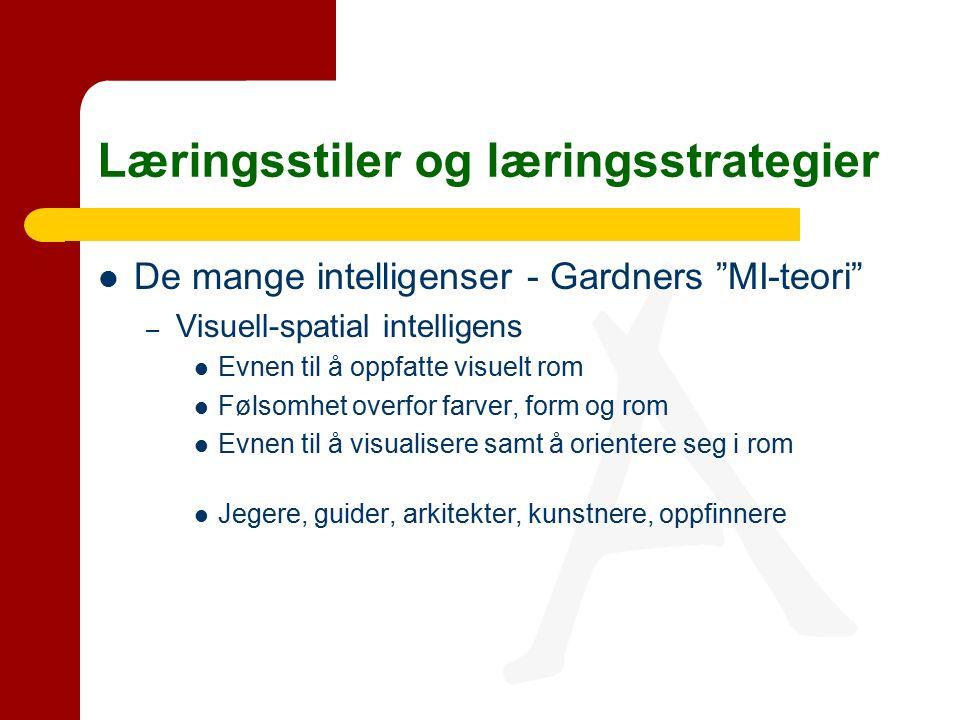 Læringsstiler og læringsstrategier De mange intelligenser - Gardners MI-teori – Visuell-spatial intelligens Evnen til å oppfatte visuelt rom Følsomhet overfor farver, form og rom Evnen til å visualisere samt å orientere seg i rom Jegere, guider, arkitekter, kunstnere, oppfinnere