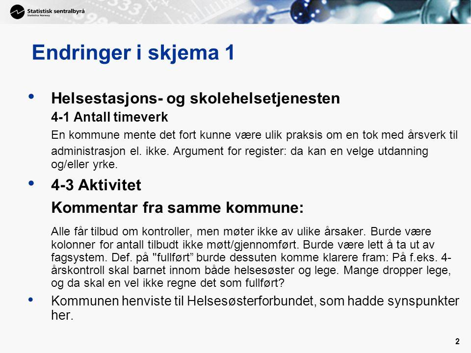 2 Helsestasjons- og skolehelsetjenesten 4-1 Antall timeverk En kommune mente det fort kunne være ulik praksis om en tok med årsverk til administrasjon el.