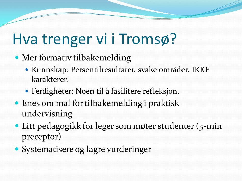 Hva trenger vi i Tromsø.Mer formativ tilbakemelding Kunnskap: Persentilresultater, svake områder.