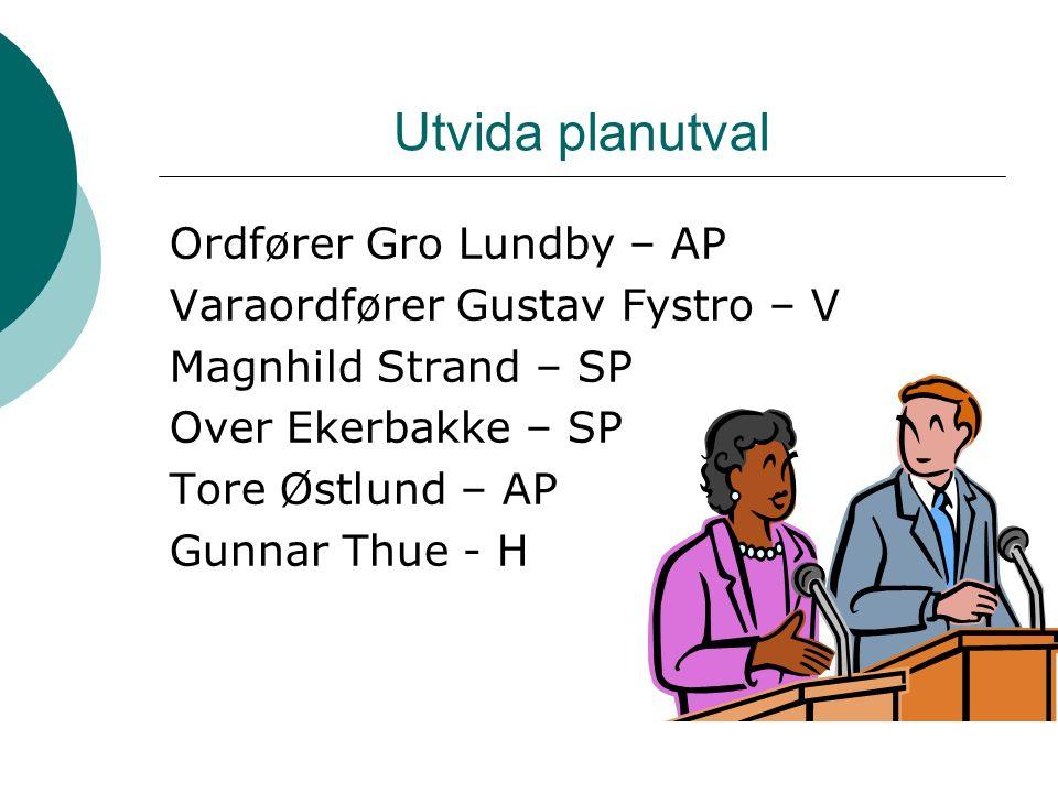 Utvida planutval Ordfører Gro Lundby – AP Varaordfører Gustav Fystro – V Magnhild Strand – SP Over Ekerbakke – SP Tore Østlund – AP Gunnar Thue - H