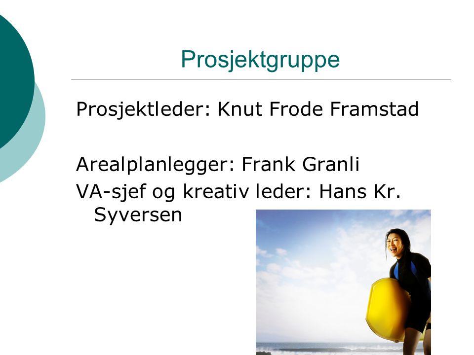 Prosjektgruppe Prosjektleder: Knut Frode Framstad Arealplanlegger: Frank Granli VA-sjef og kreativ leder: Hans Kr.
