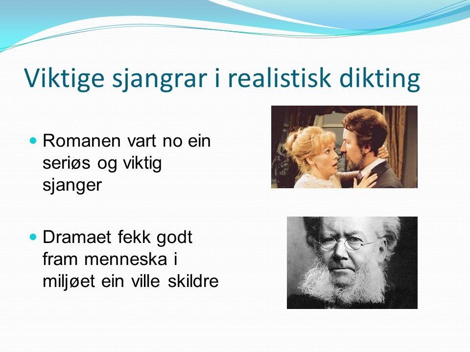 «Dei fire store» Bjørnstjerne Bjørnson (1832-1910) «En fallit» «Redaktøren» Henrik Ibsen (1826-1906) «Et dukkehjem» «Vildanden» «Per Gynt» Jonas Lie (1833-1908) «Familien på Gilje» «Livsslaven» Alexander Kielland (1849-1906) « Arbeidsfolk» « Skipper Worse» «Karen» novelle)