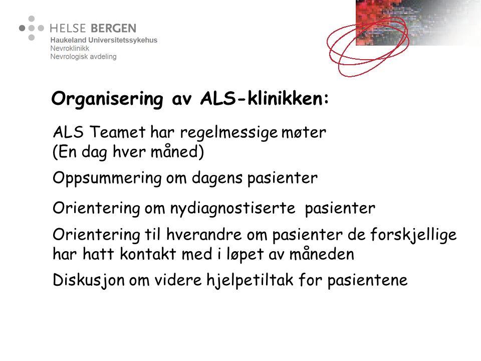 Organisering av ALS-klinikken: Oppsummering om dagens pasienter Orientering om nydiagnostiserte pasienter Orientering til hverandre om pasienter de fo