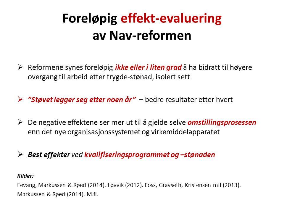 Foreløpig effekt-evaluering av Nav-reformen  Reformene synes foreløpig ikke eller i liten grad å ha bidratt til høyere overgang til arbeid etter tryg