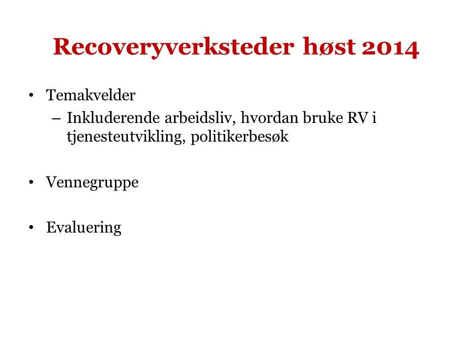 Recoveryverksteder høst 2014 Temakvelder – Inkluderende arbeidsliv, hvordan bruke RV i tjenesteutvikling, politikerbesøk Vennegruppe Evaluering