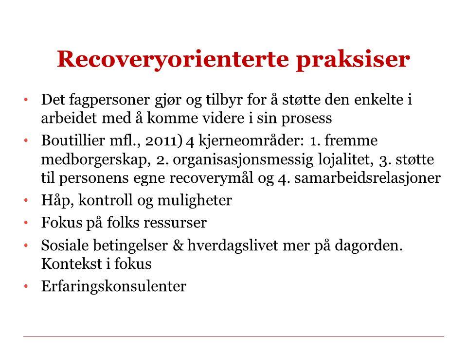 Recoveryorienterte praksiser Det fagpersoner gjør og tilbyr for å støtte den enkelte i arbeidet med å komme videre i sin prosess Boutillier mfl., 2011) 4 kjerneområder: 1.