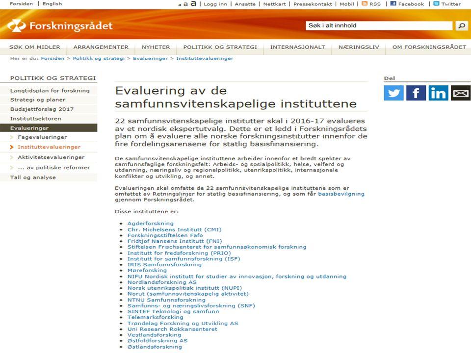 Evaluering av samfunnsvitenskapelige utdanninger v/NOKUT  Oppdrag fra KD:  Utvikle en modell for fagevalueringer der både utdanning og forskning inngår.