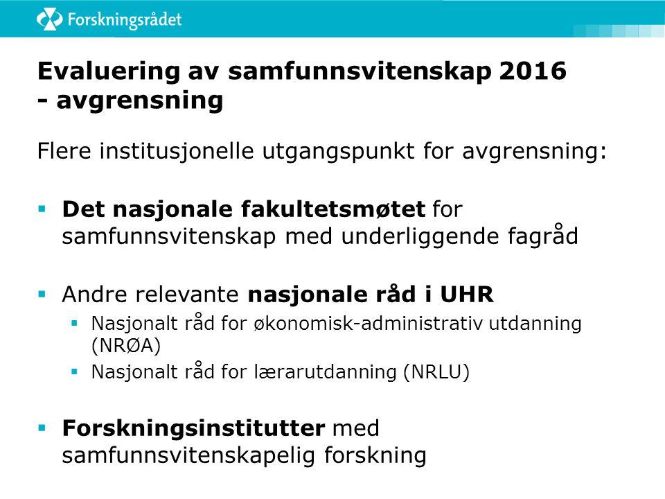 Evalueringens struktur Social Sciences in Norway Panel 1Panel 2Panel 3Panel m4 4 4 4-n Institution AInstitution BInstitution C D-X Group a Group b c-z