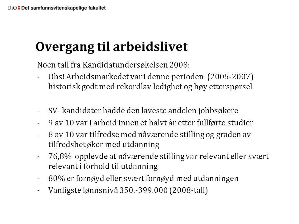 Overgang til arbeidslivet Noen tall fra Kandidatundersøkelsen 2008: -Obs.