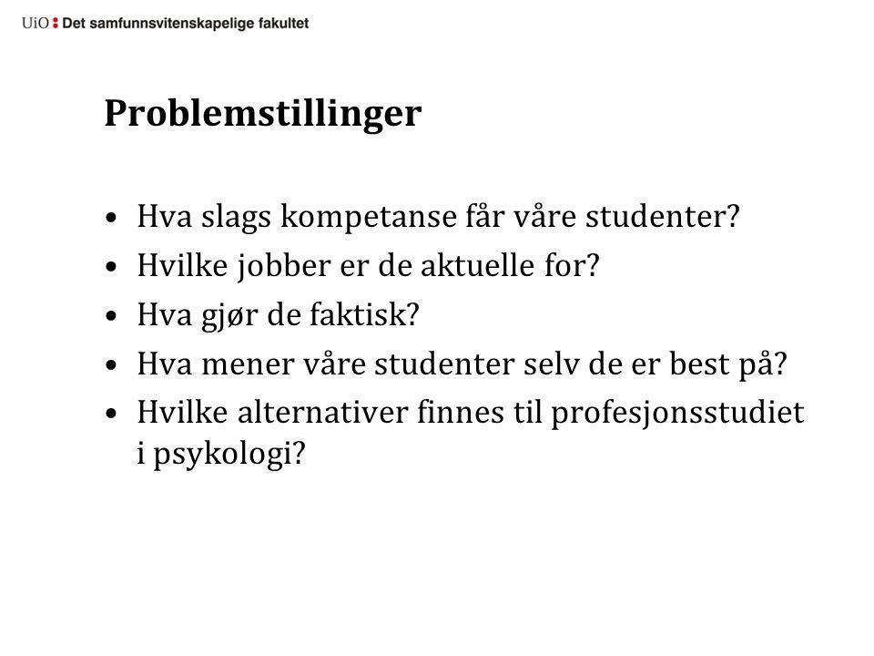 Problemstillinger Hva slags kompetanse får våre studenter.