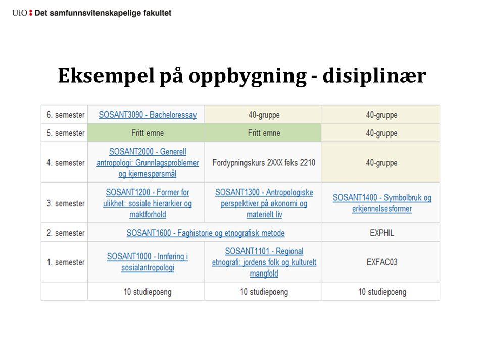 Eksempel på oppbygning - disiplinær