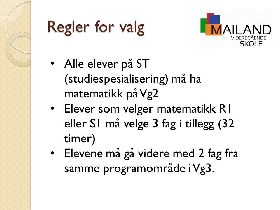 Regler for valg Alle elever på ST (studiespesialisering) må ha matematikk på Vg2 Elever som velger matematikk R1 eller S1 må velge 3 fag i tillegg (32 timer) Elevene må gå videre med 2 fag fra samme programområde i Vg3.