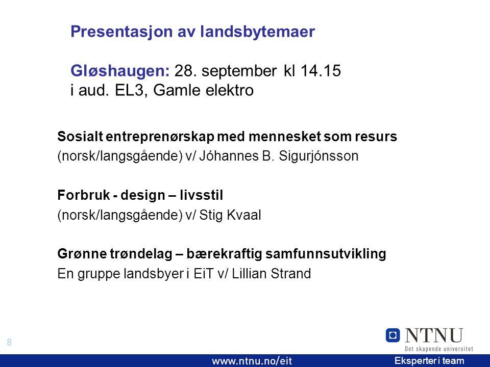 8 EiT 2006/2007 Eksperter i team Presentasjon av landsbytemaer Gløshaugen: 28.