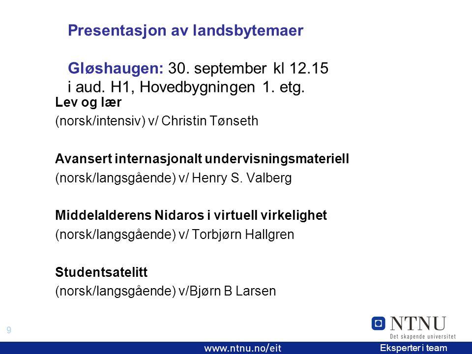 9 EiT 2006/2007 Eksperter i team Presentasjon av landsbytemaer Gløshaugen: 30.