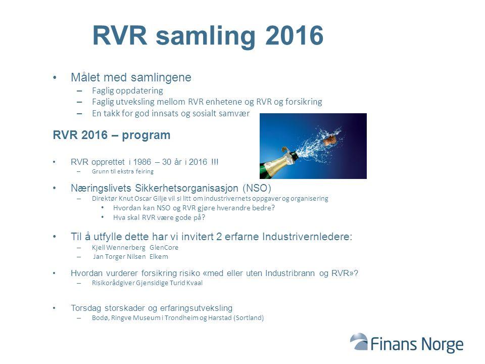 Målet med samlingene – Faglig oppdatering – Faglig utveksling mellom RVR enhetene og RVR og forsikring – En takk for god innsats og sosialt samvær RVR 2016 – program RVR opprettet i 1986 – 30 år i 2016 !!.