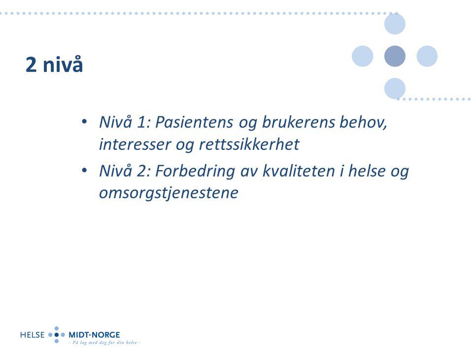2 nivå Nivå 1: Pasientens og brukerens behov, interesser og rettssikkerhet Nivå 2: Forbedring av kvaliteten i helse og omsorgstjenestene
