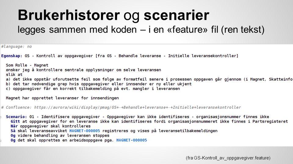 Brukerhistorer og scenarier legges sammen med koden – i en «feature» fil (ren tekst) (fra GS-Kontroll_av_oppgavegiver.feature)