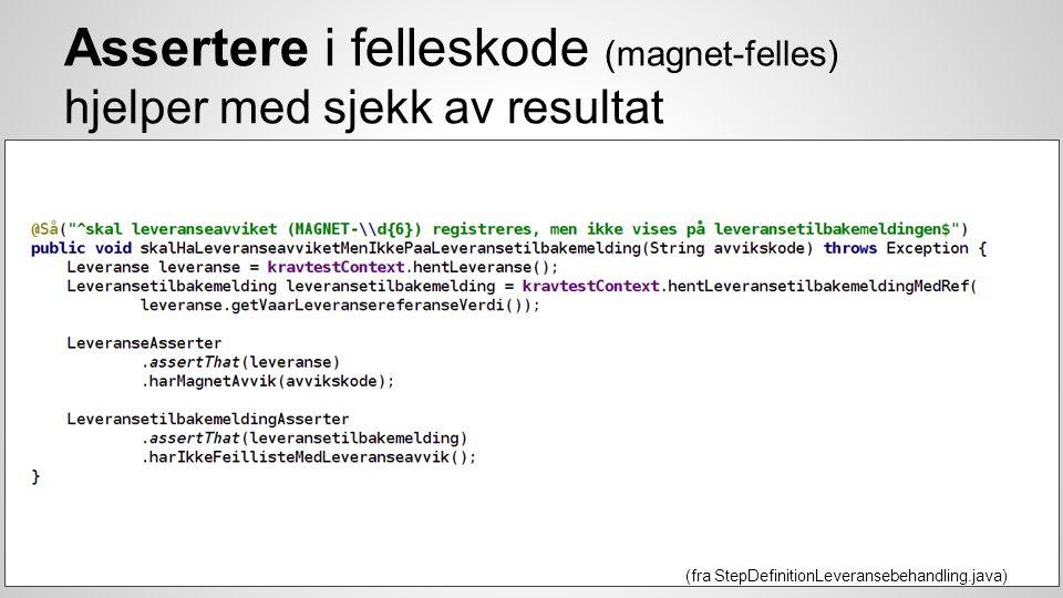 Assertere i felleskode (magnet-felles) hjelper med sjekk av resultat (fra StepDefinitionLeveransebehandling.java)