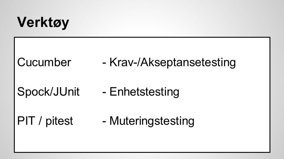 Verktøy Cucumber - Krav-/Akseptansetesting Spock/JUnit - Enhetstesting PIT / pitest - Muteringstesting