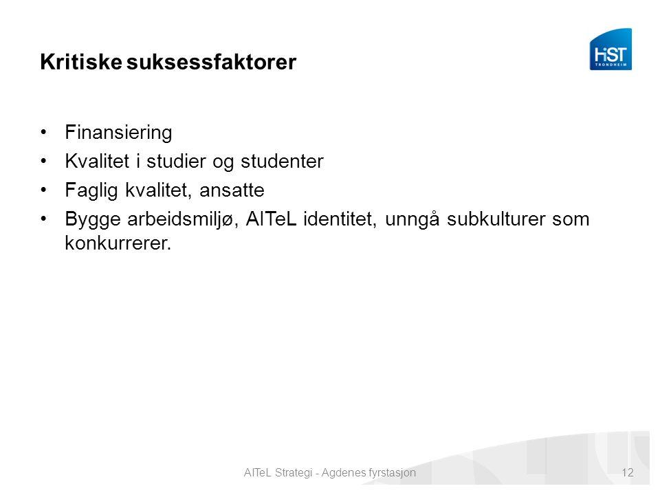 Kritiske suksessfaktorer Finansiering Kvalitet i studier og studenter Faglig kvalitet, ansatte Bygge arbeidsmiljø, AITeL identitet, unngå subkulturer som konkurrerer.