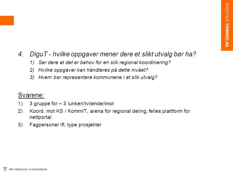 4.DiguT - hvilke oppgaver mener dere et slikt utvalg bør ha? 1)Ser dere at det er behov for en slik regional koordinering? 2)Hvilke oppgaver kan håndt