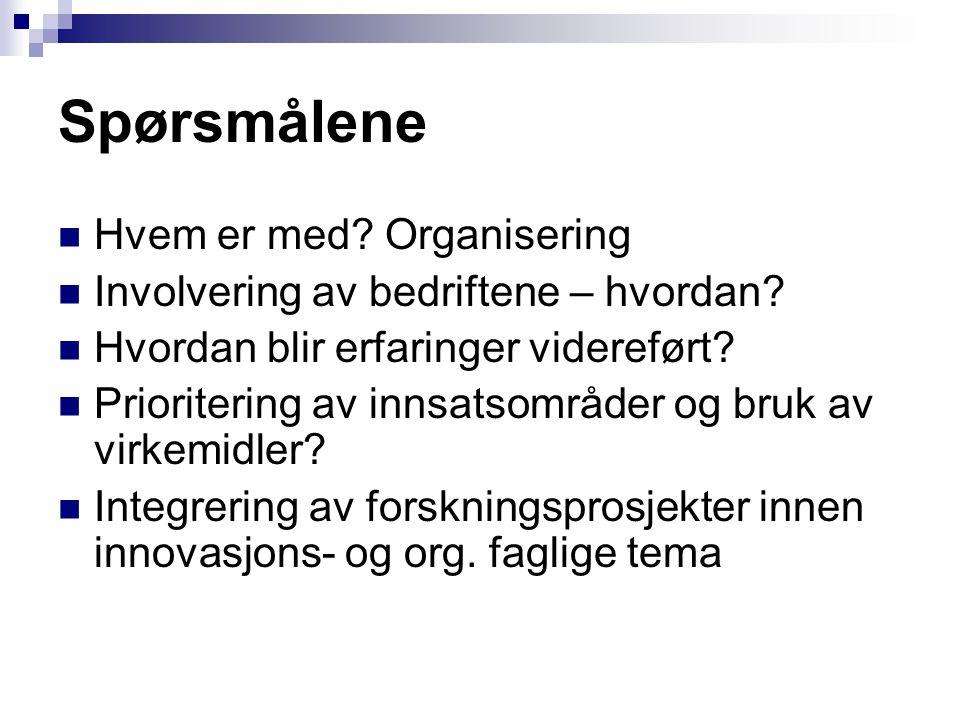 Spørsmålene Hvem er med? Organisering Involvering av bedriftene – hvordan? Hvordan blir erfaringer videreført? Prioritering av innsatsområder og bruk