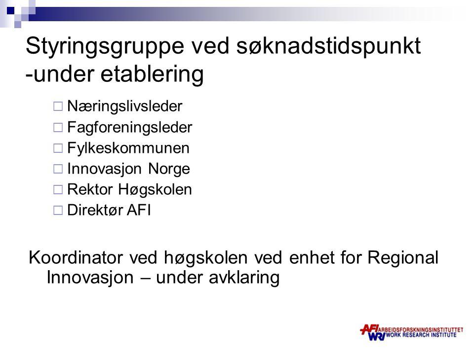 Styringsgruppe ved søknadstidspunkt -under etablering  Næringslivsleder  Fagforeningsleder  Fylkeskommunen  Innovasjon Norge  Rektor Høgskolen 
