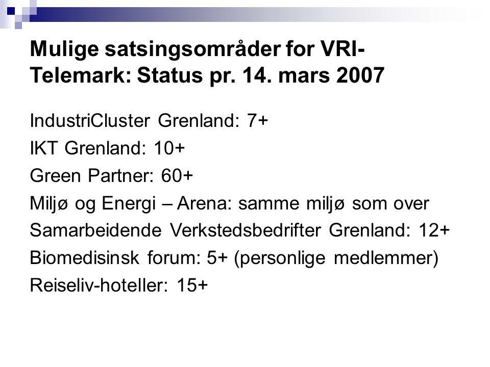 Mulige satsingsområder for VRI- Telemark: Status pr. 14. mars 2007 IndustriCluster Grenland: 7+ IKT Grenland: 10+ Green Partner: 60+ Miljø og Energi –