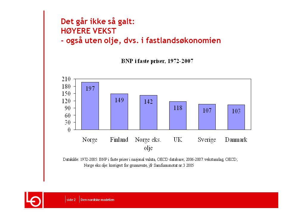 Den nordiske modellenside 2 Det går ikke så galt: HØYERE VEKST - også uten olje, dvs.