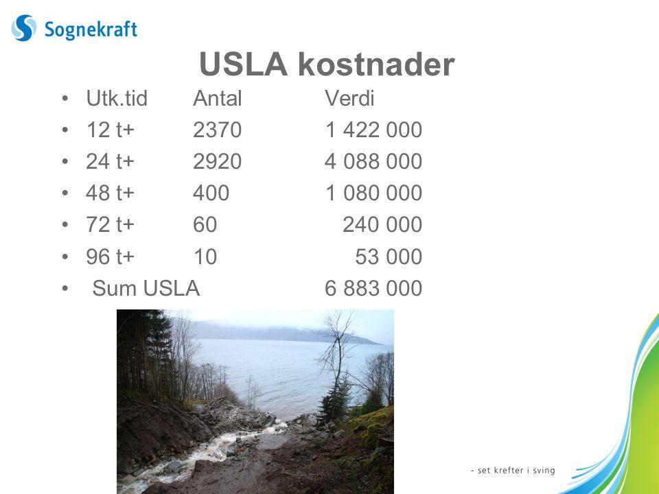 USLA kostnader Utk.tidAntalVerdi 12 t+23701 422 000 24 t+29204 088 000 48 t+4001 080 000 72 t+60 240 000 96 t+10 53 000 Sum USLA6 883 000