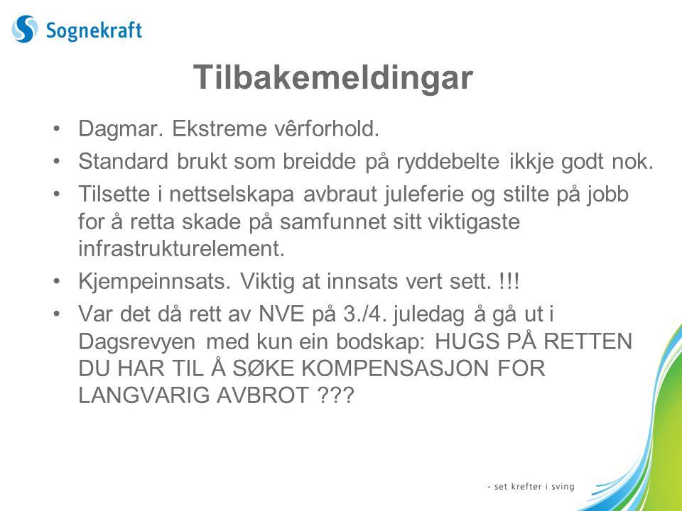 Tilbakemeldingar Dagmar. Ekstreme vêrforhold.
