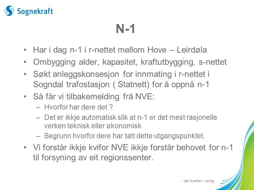 N-1 Har i dag n-1 i r-nettet mellom Hove – Leirdøla Ombygging alder, kapasitet, kraftutbygging, s-nettet Søkt anleggskonsesjon for innmating i r-nettet i Sogndal trafostasjon ( Statnett) for å oppnå n-1 Så får vi tilbakemelding frå NVE: –Hvorfor har dere det .