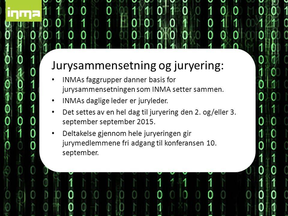 Jurysammensetning og juryering: INMAs faggrupper danner basis for jurysammensetningen som INMA setter sammen.