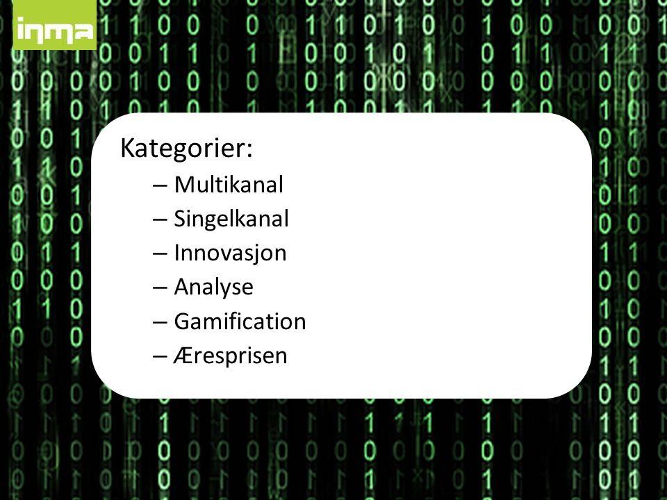 Kategorier: – Multikanal – Singelkanal – Innovasjon – Analyse – Gamification – Æresprisen