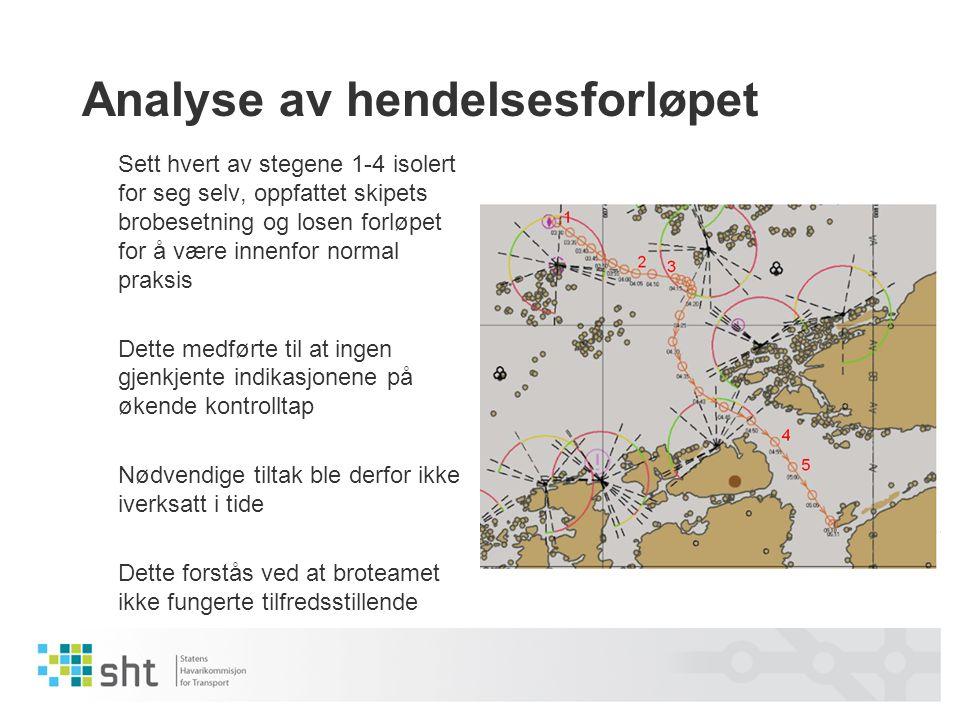 Analyse av hendelsesforløpet Sett hvert av stegene 1-4 isolert for seg selv, oppfattet skipets brobesetning og losen forløpet for å være innenfor norm
