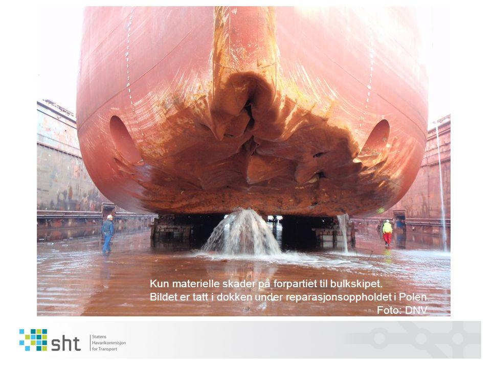 Kun materielle skader på forpartiet til bulkskipet. Bildet er tatt i dokken under reparasjonsoppholdet i Polen. Foto: DNV