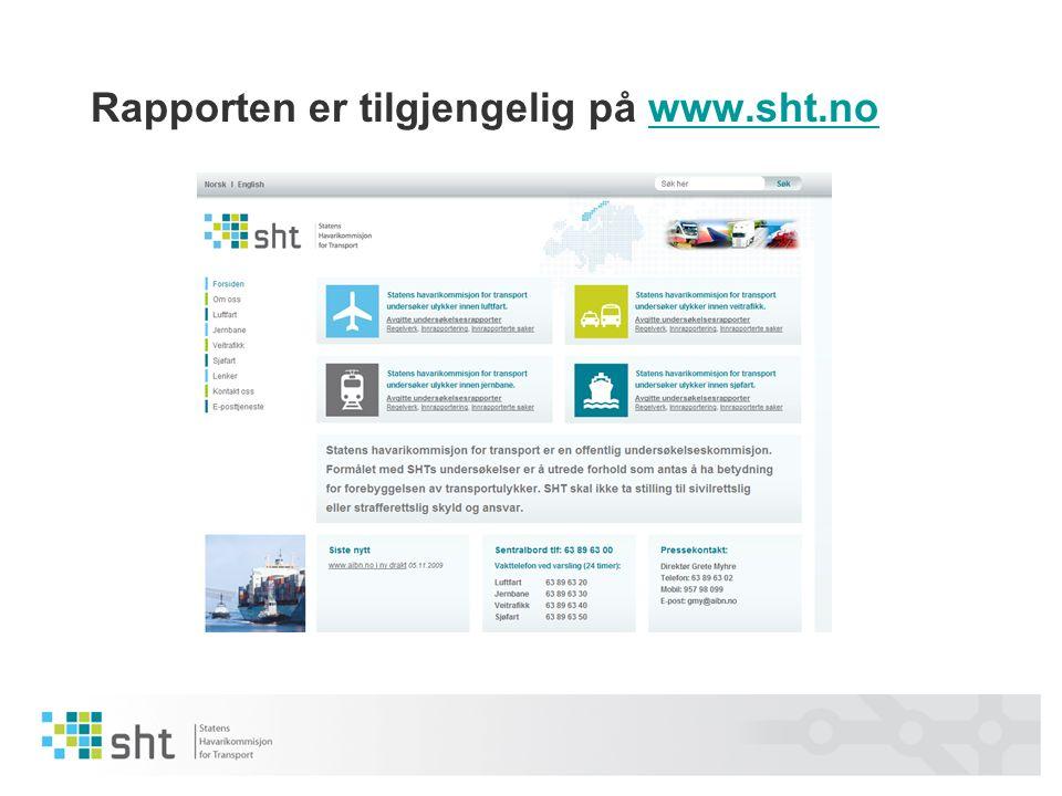 Rapporten er tilgjengelig på www.sht.nowww.sht.no