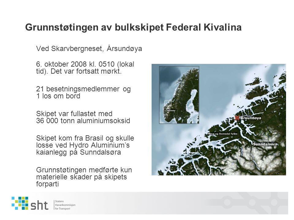 Grunnstøtingen av bulkskipet Federal Kivalina Ved Skarvbergneset, Årsundøya 6.