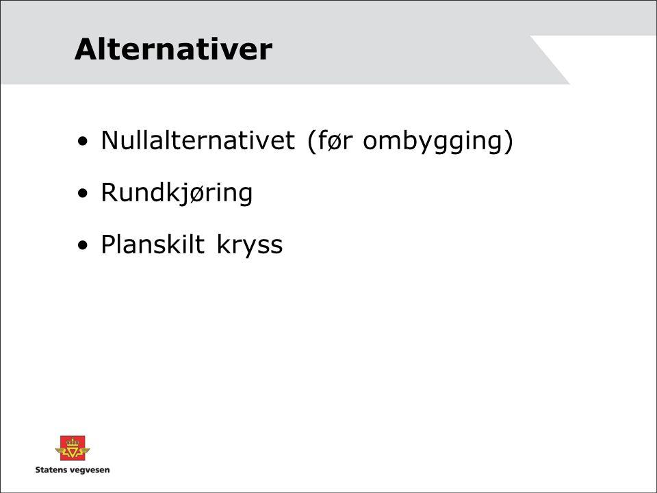 Alternativer Nullalternativet (før ombygging) Rundkjøring Planskilt kryss